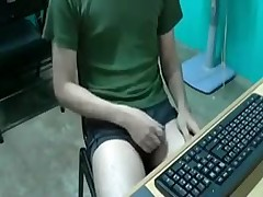 Teenboy jerks his dick on webcam